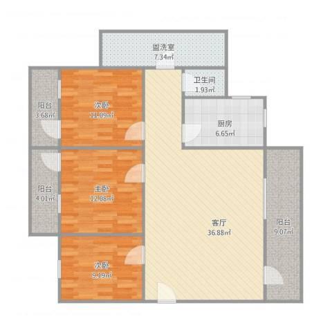 外贸新村12座5033室2厅1卫1厨138.00㎡户型图