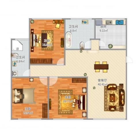 万邦都市花园1好3023室1厅2卫1厨152.00㎡户型图