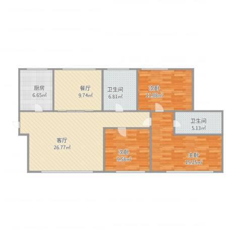 西雅图观海苑3室2厅2卫1厨122.00㎡户型图