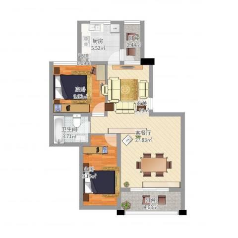 盛世天地2室1厅2卫1厨92.00㎡户型图