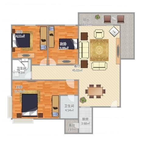 丽日华庭3室1厅2卫1厨162.00㎡户型图