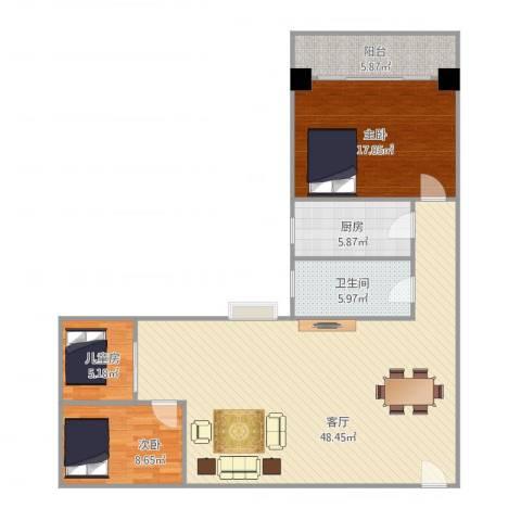 华福大厦3室1厅1卫1厨130.00㎡户型图