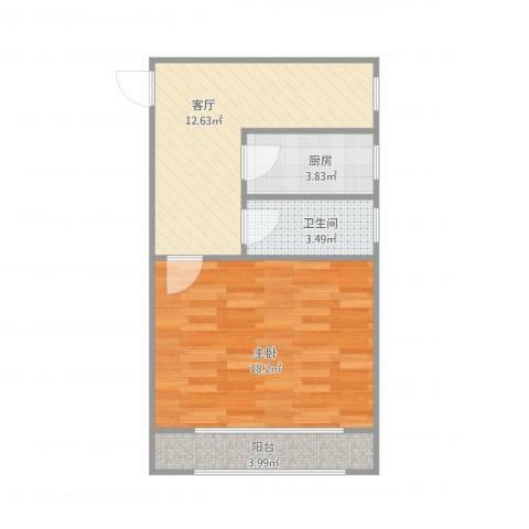 何家宅小区1室1厅1卫1厨58.00㎡户型图