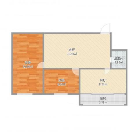 岗松里2室2厅1卫1厨68.00㎡户型图