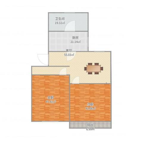 金杨一街坊2室1厅1卫1厨248.00㎡户型图