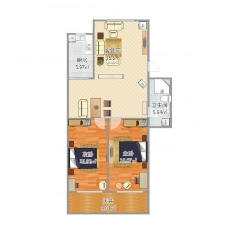芳雅苑2室1厅1卫1厨118.00㎡户型图
