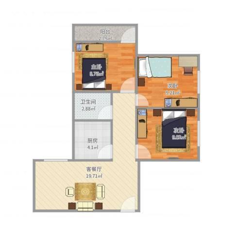 家乐村1座5023室1厅1卫1厨77.00㎡户型图