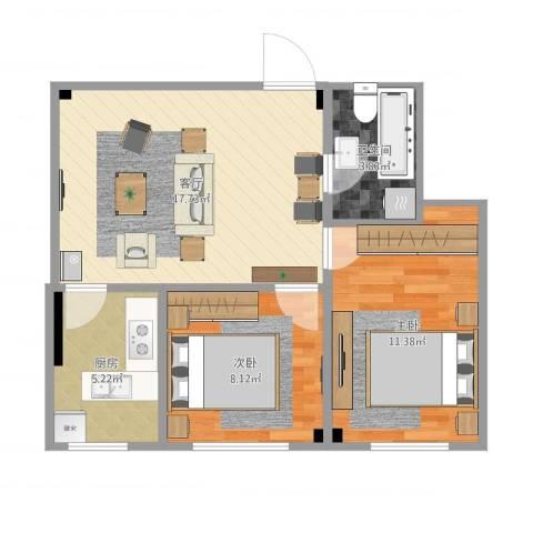 湾里南2室1厅1卫1厨64.00㎡户型图