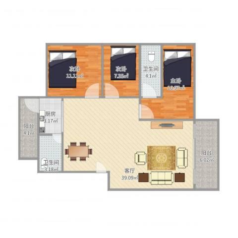 恒基花园3期3室1厅2卫1厨120.00㎡户型图