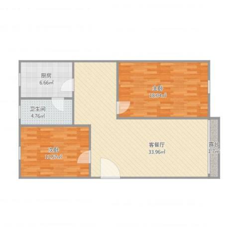 教工小区2室1厅1卫1厨104.00㎡户型图
