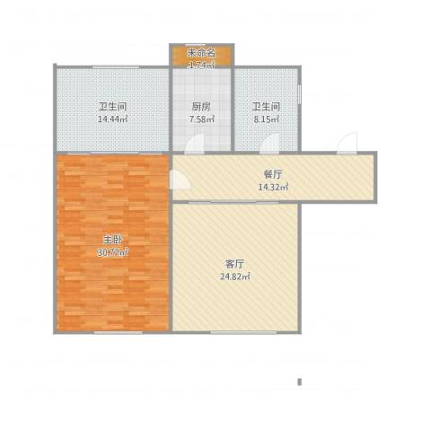 爱国里1室2厅2卫1厨135.00㎡户型图