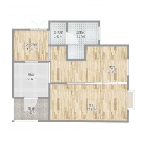 恒大华城天地苑1室2厅1卫1厨60.00㎡户型图