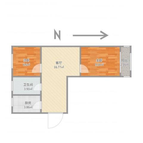 豆腐巷2室1厅1卫1厨53.00㎡户型图