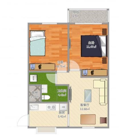 中桥二村2室1厅2卫1厨67.00㎡户型图