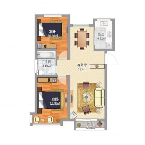 锦诚花园2室1厅1卫1厨91.00㎡户型图