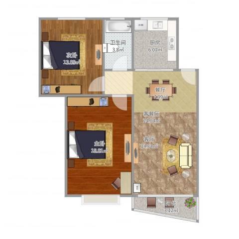 新金山花园73.052室1厅1卫1厨91.00㎡户型图