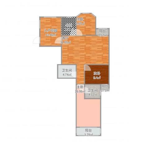 葡华欧洲城3室1厅2卫1厨131.00㎡户型图