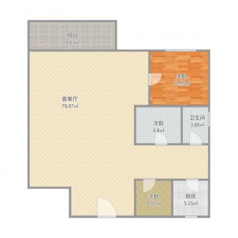 鸿翔湖景苑3室1厅1卫1厨163.00㎡户型图