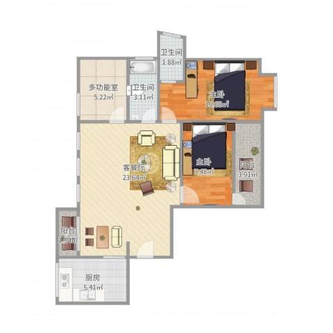 水景花城2室1厅2卫1厨86.00㎡户型图