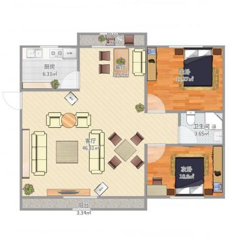 天居玲珑湾2室1厅1卫1厨115.00㎡户型图