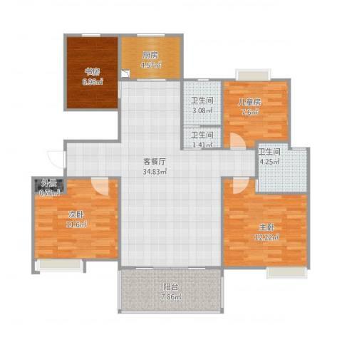 翰林世家4室1厅3卫1厨129.00㎡户型图