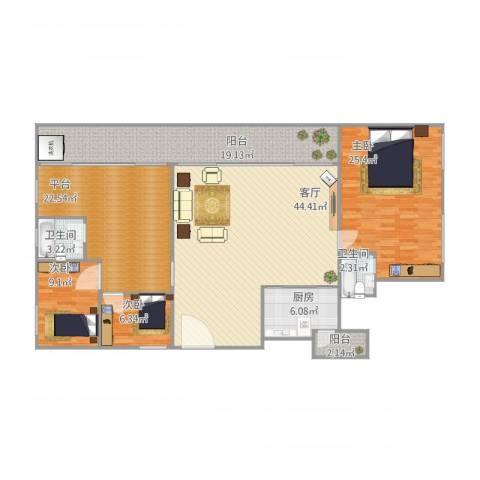 朗晴轩3室1厅2卫1厨188.00㎡户型图