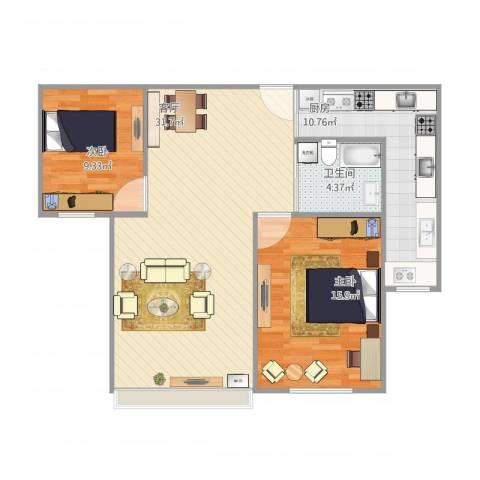 文怡苑2室1厅1卫1厨96.00㎡户型图