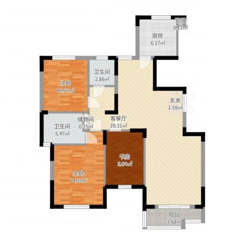天鹅湖畔3室1厅2卫1厨129.00㎡户型图
