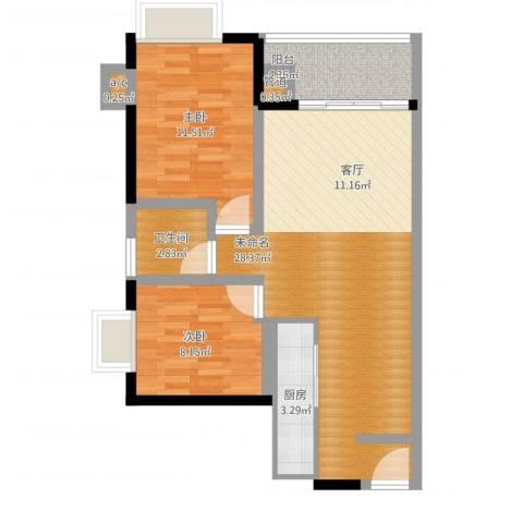 金碧雅苑2室1厅3卫1厨72.00㎡户型图