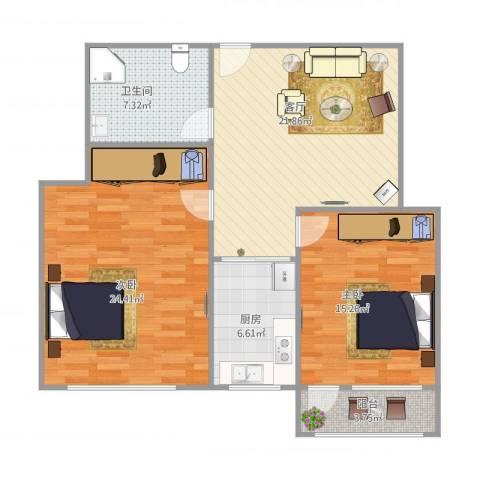 鑫达小区2212室1厅1卫1厨106.00㎡户型图
