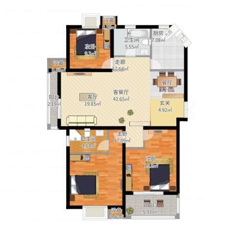 中天花园(西区)3室1厅2卫1厨159.00㎡户型图