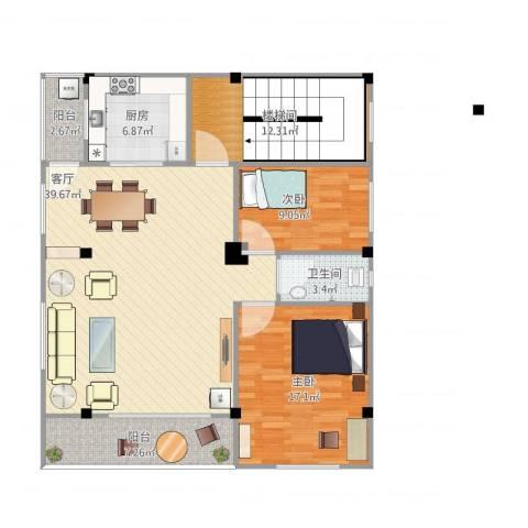 石滩岗贝2室1厅2卫1厨132.00㎡户型图