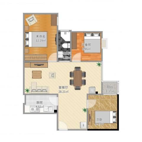 和辉花园2室1厅2卫1厨87.00㎡户型图