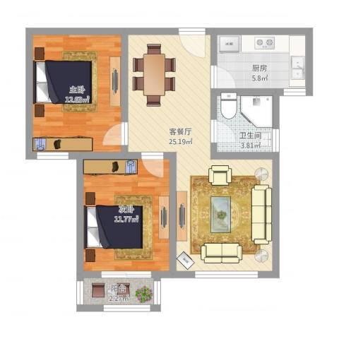 星辰明珠2室1厅1卫1厨89.00㎡户型图