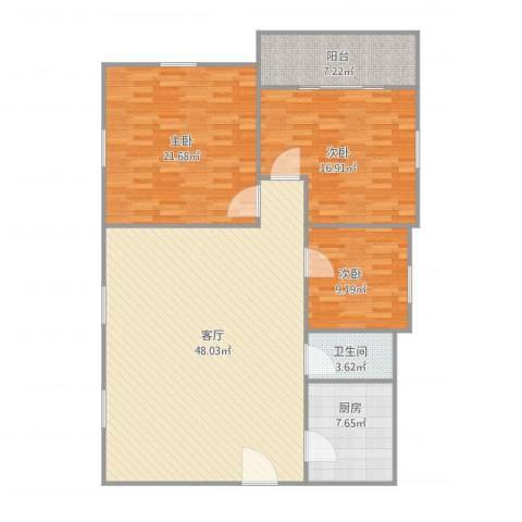 鸿业新天地3室1厅1卫1厨151.00㎡户型图