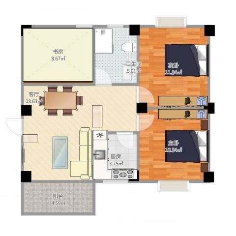 文屏山庄2室1厅1卫1厨87.00㎡户型图