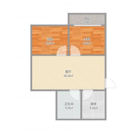 梅花三村24-2052室1厅1卫1厨55.00㎡户型图