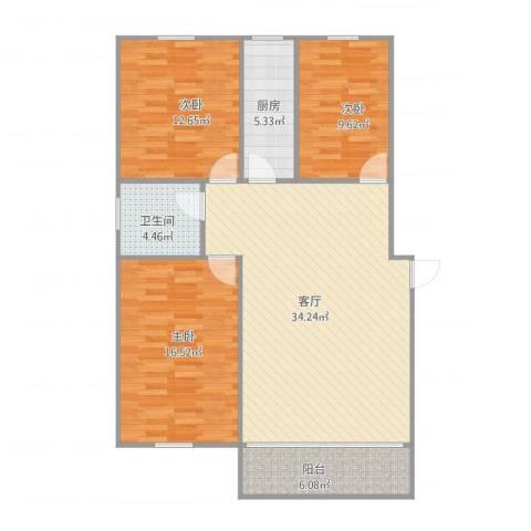 绿景华庭3室1厅1卫1厨119.00㎡户型图