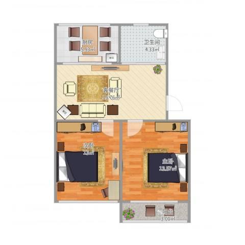桥工新村2室1厅1卫1厨75.00㎡户型图