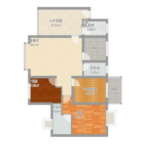 禹洲领海2室1厅2卫1厨121.00㎡户型图