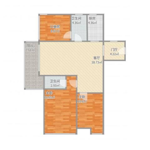金域华府3室1厅2卫1厨95.68㎡户型图