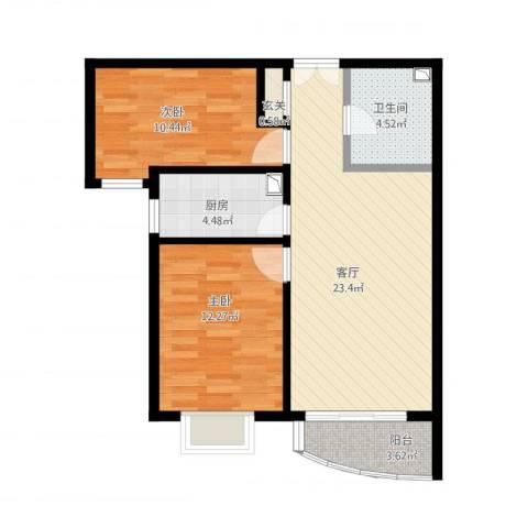 北京城建·世华泊郡2室1厅1卫1厨86.00㎡户型图