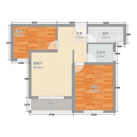 浦江瑞和城玖街区2室1厅1卫1厨79.00㎡户型图