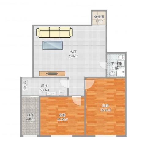 东莱里2室1厅1卫1厨91.00㎡户型图