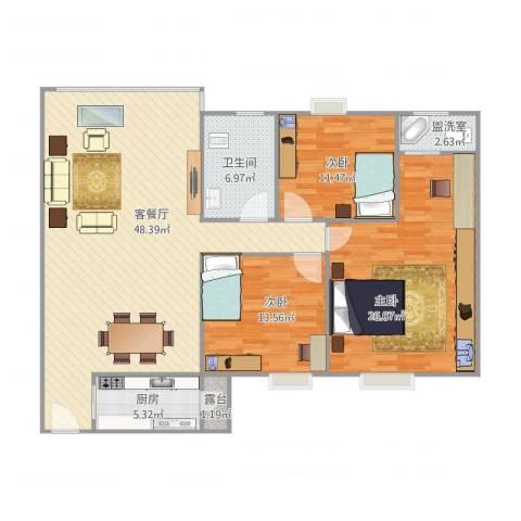 丽日华庭3室2厅1卫1厨154.00㎡户型图