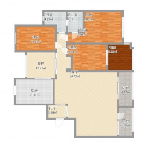 明日星城4室2厅3卫1厨220.00㎡户型图