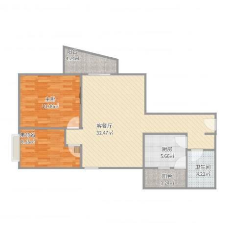翠湖山庄2室1厅1卫1厨97.00㎡户型图