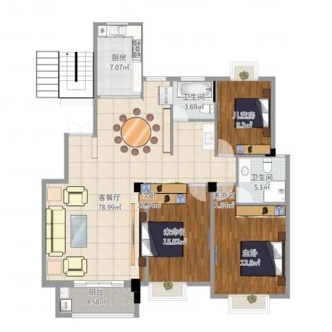 上由名邸1室1厅2卫1厨141.00㎡户型图