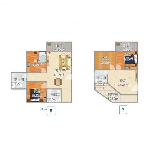 新月桃苑3室2厅2卫1厨169.00㎡户型图