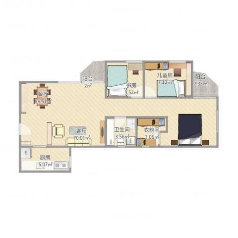 海怡花园2室1厅2卫1厨86.00㎡户型图